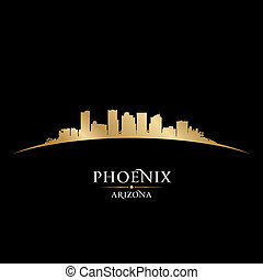 Phoenix Arizona city skyline silhouette black background -...