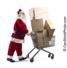 santa, Claus, compras, carrito
