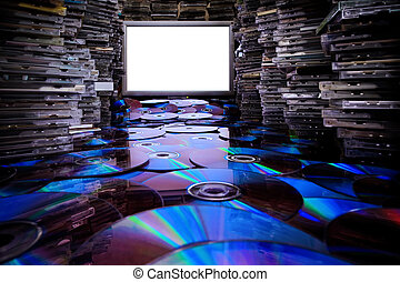 Copying cd and dvd. - Stop illegal copying! Huge piles...