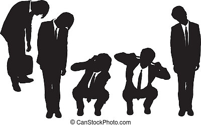 Silhouettes of business man looking depressed from work with...