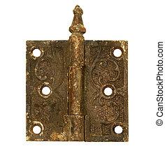 old rusty door hinge - vintage rusty door hinge on a white...