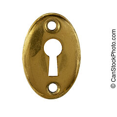 old brass keyhole - old tarnished brass keyhole on a white...
