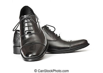 Mens Shoes - Close-up of elegant mens shoes on white...