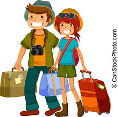 travelling couple - man and woman travelling together