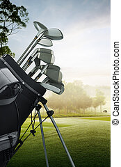 golf equipment on the course - close up of golf equipment on...