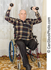 Senior amputee working out lifting weights - Senior male...