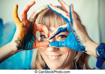 hermoso, rubio, mujer, pintor