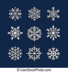 Abstract symmetry winter snowflakes collection