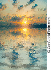 Sunset stained glass mosaic - Sunset-colored stained glass...