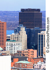 Hamilton, Ontario, Downtown in cold sunny day - Downtown...