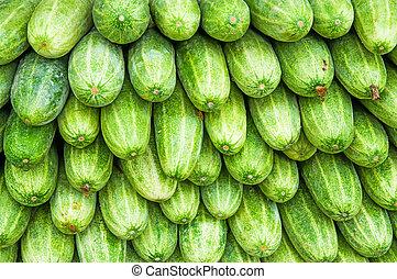 A pile of fresh cucumbers