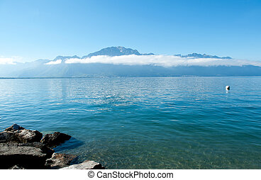 Geneve lake in Montreux in the canton of Vaud in...