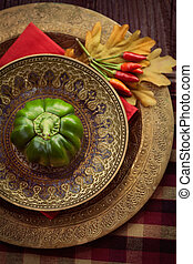 Restaurant autumn place setting - Restaurant autumn table...