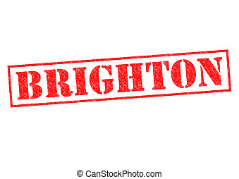 BRIGHTON Rubber Stamp over a white background.
