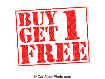 BUY 1 GET 1 FREE Rubber Stamp over a white background