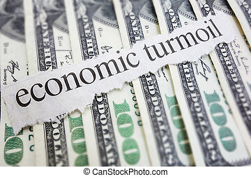 Turmoil - Economic Turmoil newspaper headline on cash...