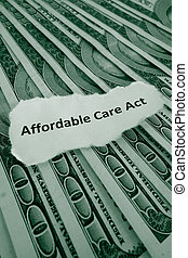 ACA - Closeup of Affordable Care Act, aka Obamacare text on...