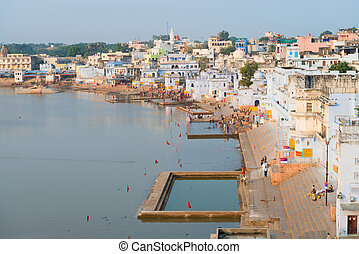 Holy sacred place for Hindus town Pushkar, India - View of...