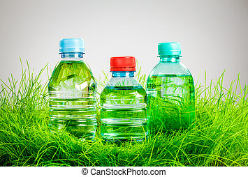 Water bottle on the grass - Bottle of water on the green...