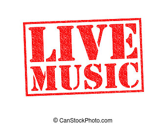 LIVE MUSIC Rubber Stamp over a white background