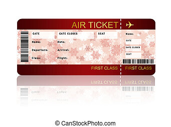 christmas airline boarding pass ticket isolated over white -...