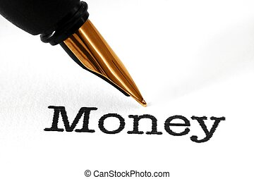 Fountain pen on money text