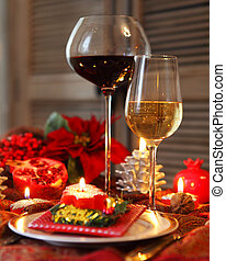 Christmas still life with white and red wine and Christmas...