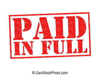 PAID IN FULL Rubber Stamp over a white background
