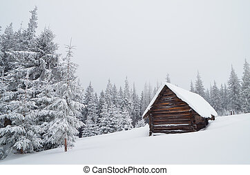 Mountain Hut - Winter landscape with a mountain hut cloudy...
