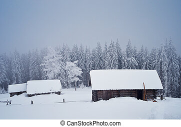 Rural buildings in winter