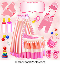 pink set of children's cradle beanbag booties sliders -...