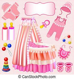 pink set of children's cradle beanbag booties sliders -...