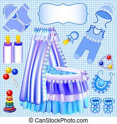 blue set of children's cradle beanbag booties sliders -...