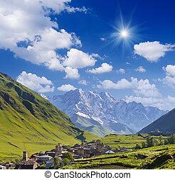 Community Ushguli, Georgia - Mountain landscape with the...