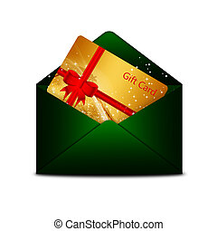 christmas gift card in green envelope isolated over white...