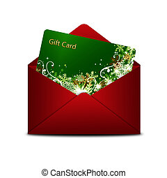 christmas gift card in red envelope isolated over white...