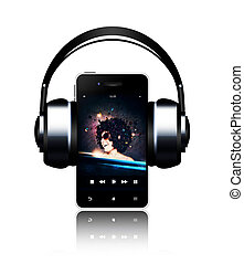 mobile phone and headphones with music listening woman on touch screen over white