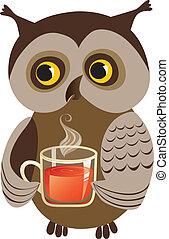 Hot tea - Owl drinking/offering cup of tea, vector