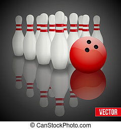 Bowling pins and ball with reflection - Background of...
