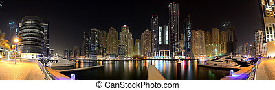 The night illumination of Dubai Marina on September 8, 2013...