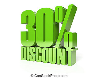 30 percent discount Green shiny text Concept 3D illustration...