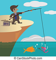 Business Fishing - Businessman trying to catch a fish with...