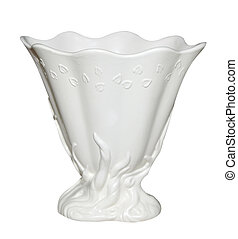 Antique White Vase isolated with clipping path