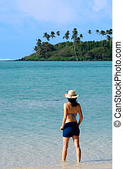 Young Happy Woman on Vacation in Pacific Island - Young...