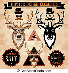 Hipster set with deer face, labels and inscriptions