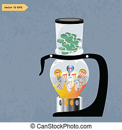 Siphon Idea - Siphon idea to make much money, a vector tenth...