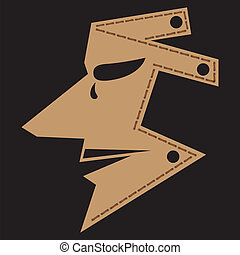 Man Mask - Brown man mask isolated on black, vector 10...