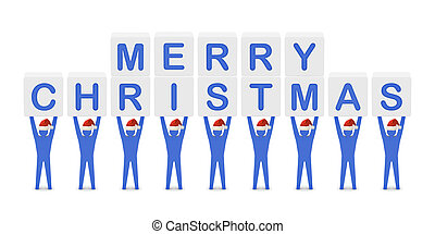 Men holding the words Merry Christmas.