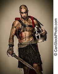 Ferido, gladiador, espada, coberto, sangue, capacete,...