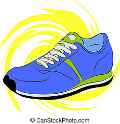 running shoes - Vector illustration. Blue running shoes on a...